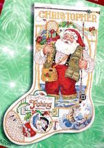 Bucilla Fishing Santa Christmas Holiday Cross Stitch Stocking Kit 84355 ... - $88.95