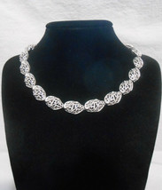 Crown Trifari Choker Silver Tone Filigree Necklace Vintage 1960s - $23.75