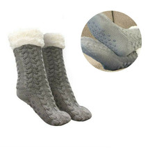 Women's Grey Thermal Sherpa Socks Thick Cozy Fuzzy Fleece-lined Bed Slippers image 1
