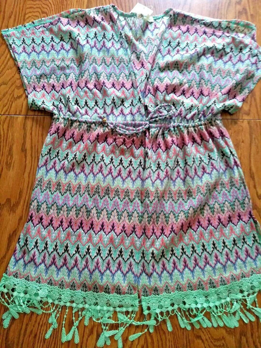 Miken Swim Neon Pink Turquoise Beach Cover Up Size Small
