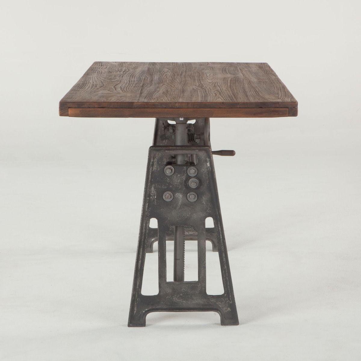 Industrial Steel Crank Adjustable Desk