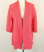 PURE Handknit Size Medium/Large Coral Cotton Cardigan Sweater Boutique - $23.99