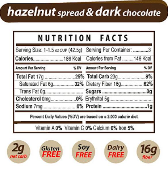 Keto Snacks: To-go Nutilight Hazelnut spread Dark Chocolate. 6 ct (2 net carbs)