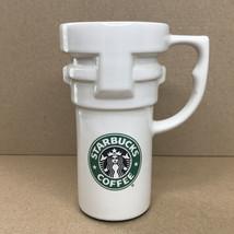 Vintage Starbucks White Ceramic Tall Travel Cup Car Mug with Green Merma... - $8.67