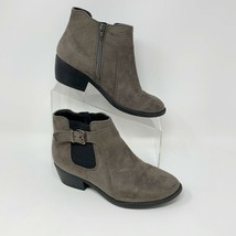 Soda Womens Gray Faux Suede Side zip Heeled Bootie, Size 7.5 Buckle Accent - $18.76
