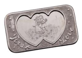 1973 Mother Lode Mint 1 oz. Silver Art Bar First Love (11 FLOWERS, REV 3) - $48.51