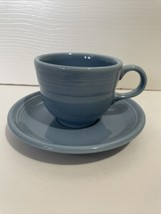 Fiesta Ware Periwinkle Blue Teacup And Saucer Set - $12.99