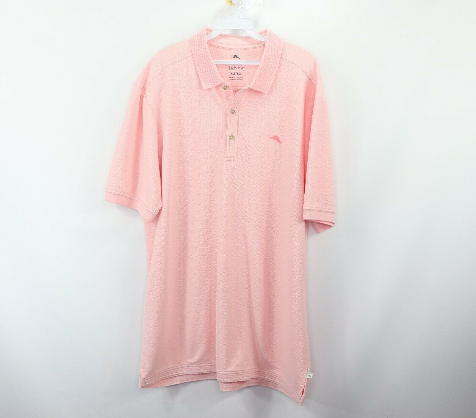 da14667d Tommy Bahama Mens XL Tall XLT Supima Cotton Short Sleeve Golf Polo Shirt  Pink - $34.60