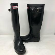Hunter Womens Original Gloss Black Rain Boots Size 5 Rubber Ltd Pull Slip On - $49.49