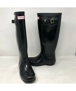 Hunter Womens Original Gloss Black Rain Boots Size 5 Rubber Ltd Pull Sli... - $49.49