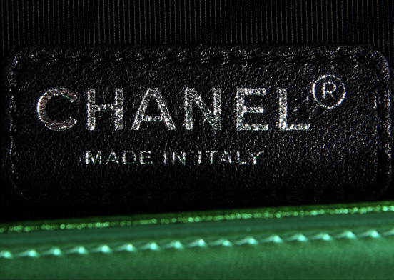 100% AUTHENTIC Chanel Metallic Green Calfskin Medium Quilted Boy Flap Bag
