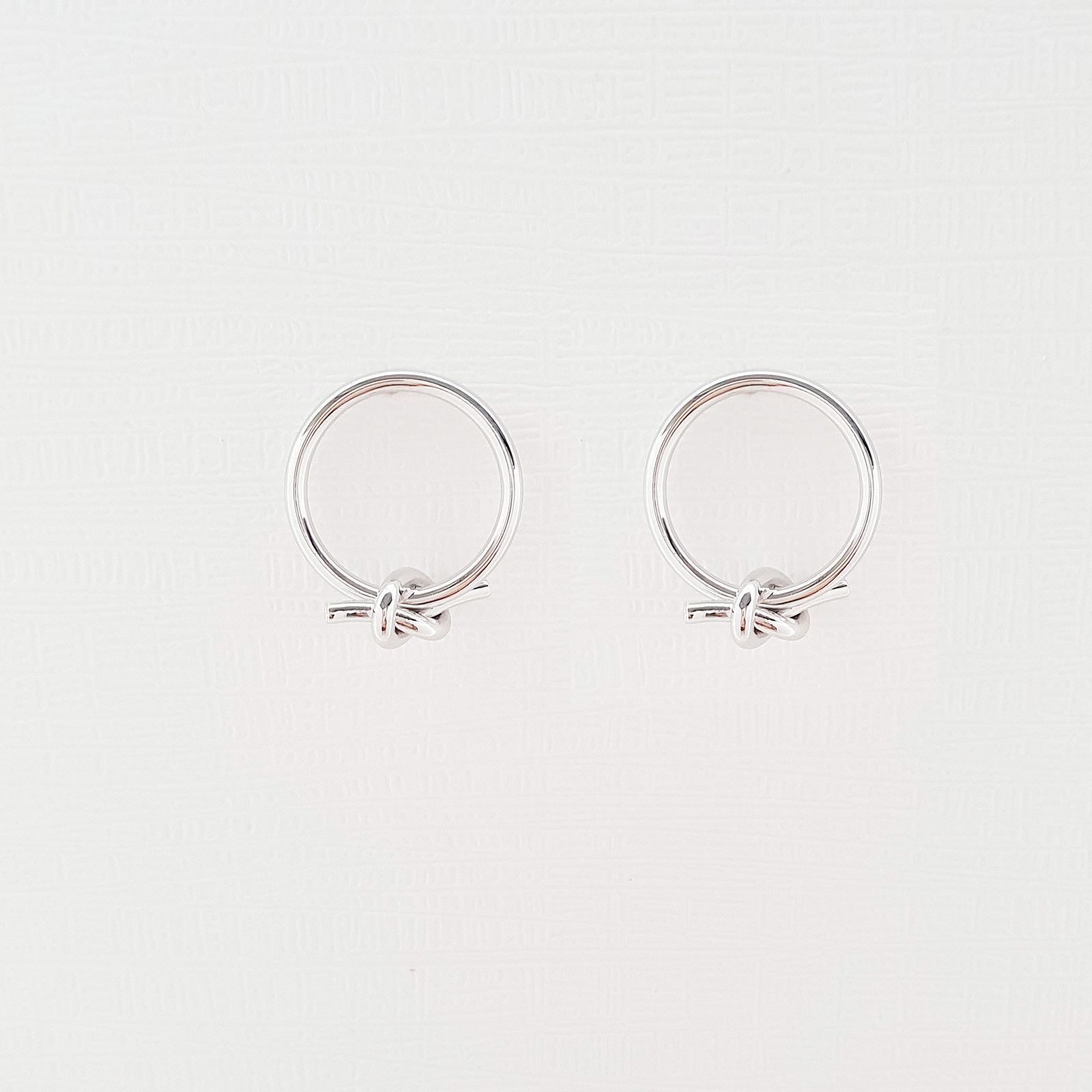 Open Circle Knot Stud Earrings Silver Tone  Brass Titanium Ear Gift For Women image 3
