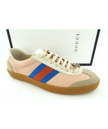 New GUCCI Size 12 G74 Pink Oatmeal Retro Web Sneakers Shoes UK 11 - $479.00