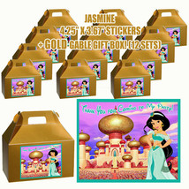 JASMINE Party Favor Boxes Thank you Decals Stickers Loots Party PRINCESS... - $24.70