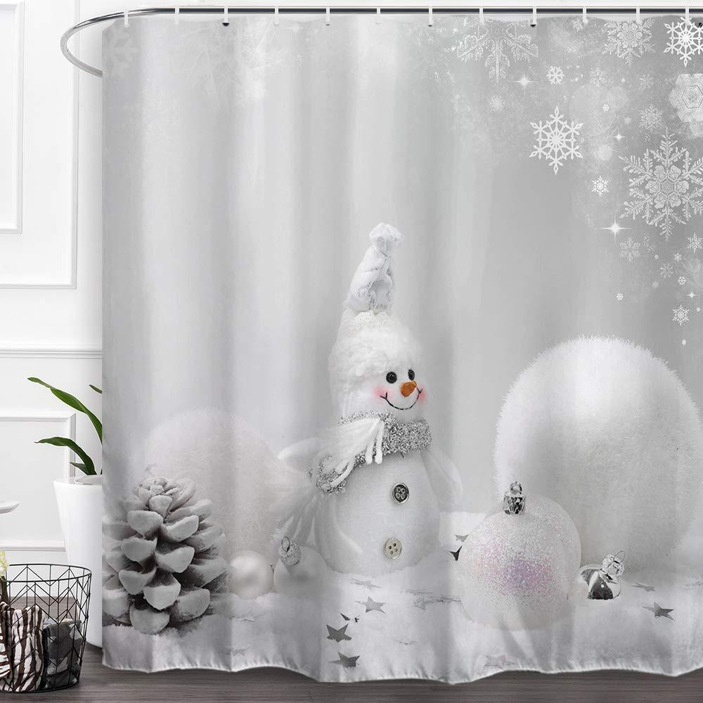 Primary image for Baccessor Happy Snowman Christmas Shower Curtains,Fabric Shower Curtains with Ho