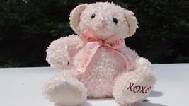 Russ berrie pink sparkles hugs & kisses bow bean bag teddy bear XOXO foot Target - $7.99