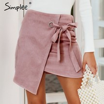Asymmetrical Split Skirt Sexy High Waist Autumn Winter Casual Skirt For Women - $23.69
