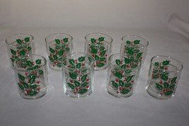 8 Bartlett Collins Holly and Berries Christmas 8 Ounce Flat Tumblers BTC... - $29.65