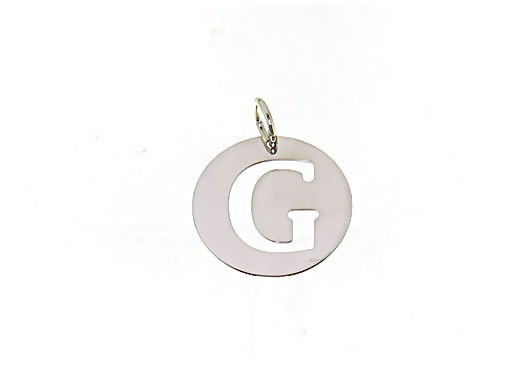 18K WHITE GOLD ROUND MEDAL WITH INITIAL G LETTER G MADE IN ITALY DIAMETER 0.5 IN