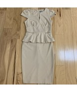 ASOS Women's Dress Size 10 Beige Short Sleeve Peplum Pencil Midi - $24.74