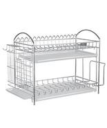NEX Dish Drainer 304 Stainless Steel Kitchen 2-Tier Dish Rack with Utens... - $47.55