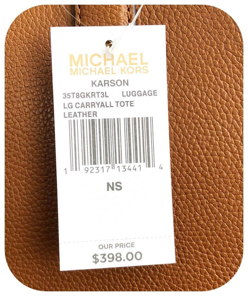 NWT MICHAEL KORS PEBBLED LEATHER KARSON LARGE CARRYALL TOTE BAG IN LUGGAGE