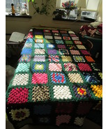 Handcrafted Twin Size Granny Square Afghan Hunter Green Trim - $125.00