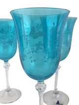 3 Le Sielle Crystal Design Blue Engraved Butterfly Bowl Wine Glasses Ita... - $56.06