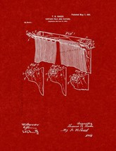 Curtain Pole and Fixture Patent Print - Burgundy Red - $7.95+