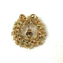 Vintage Rafaelian Christmas Tree Brooch Pin Rhinestone Wreath Dangler bell - $14.80