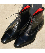 Black Color Cap Toe High Ankle Genuine Leather Oxford Customized Men Boots - $149.90+