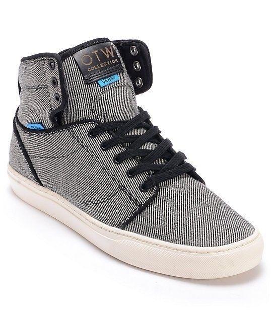 VANS Alomar (Wool Twill) Black Hi Top Men's Skate Shoes Size 11.5