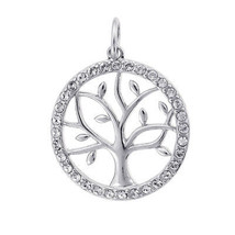 Cubic Zirconia Circle Tree Sterling Silver Pendant - $88.11