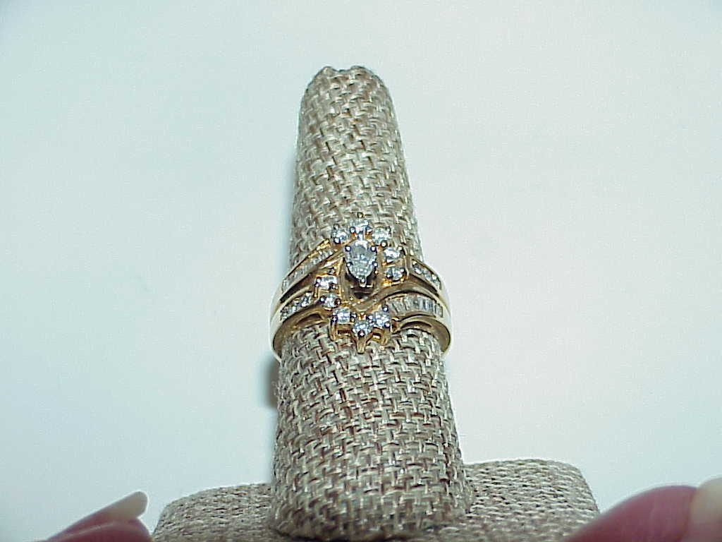 14K 1.00ct Marquise Diamond Ring Yellow Gold Size 8 SI  H Rounds & Baguettes