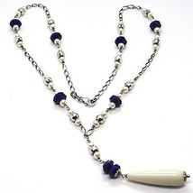 SILVER 925 NECKLACE, LAPIS LAZULI BLUE DISCO, PEARLS, PENDANT DROP image 1