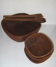 Teak Wood Bowl Set 6 Piece Pc Mid-Century Good Wood Genuine Salad Fruit - $13.54