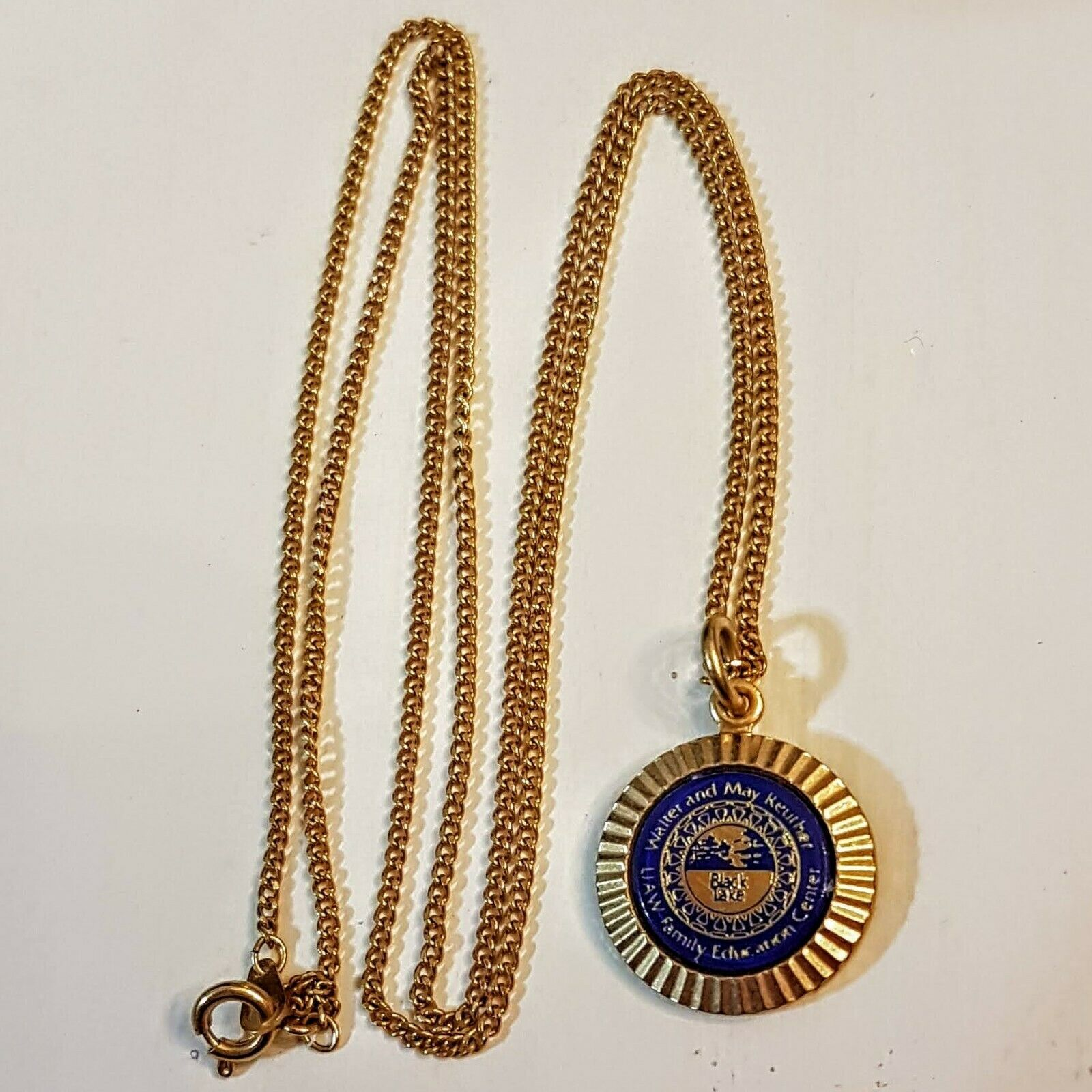 "Primary image for UAW Pendant NECKLACE Black Lake Family Educational Center 24"" Gold Plated Chain"