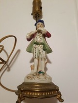 Vintage Figural Accent Brass Table Lamp Porcelain Colonial Gentleman pla... - $32.67