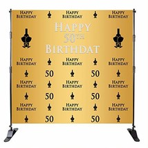 Mehofoto 50th Birthday Background Champagne Glass Repeat Backdrop Golden... - $45.52