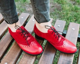 Sole Purpose Venetian Red Wingtip Quarter Suede Balmoral Women Leather Shoes - £105.17 GBP - £145.62 GBP