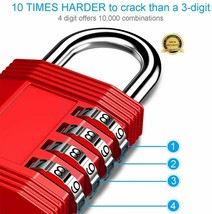 ZHEGE Combination Lock, 4 Digit Outdoor Padlock for Gym, School, Fence, & More image 2