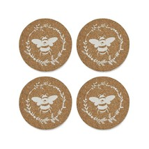 SET OF 4 BROWN WHITE BUMBLE BEE DESIGN CORK ROUND COASTERS DINING TABLEWARE - $7.65