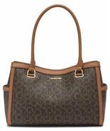 Calvin Klein Mercy Signature Organizational Satchel, Brown/Khaki/Caramel - $98.99