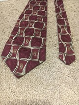 Robert Talbott Men's Tie Burgundy With Green Lattice And Paisleys C-73 - $5.39