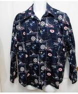 New Sz L Bellini Collection Mens Navy w/Sailing Motif Cotton LS Button S... - $19.00