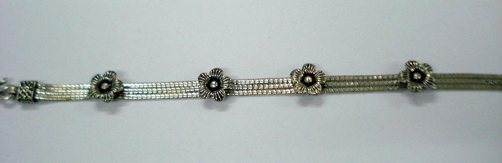 Traditional flower design sterling silver bracelet cuff handmade jewellery