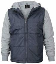 Vertical Sport Men's Sherpa Fleece Lined Two Tone Zip Up Hoodie Jacket image 5