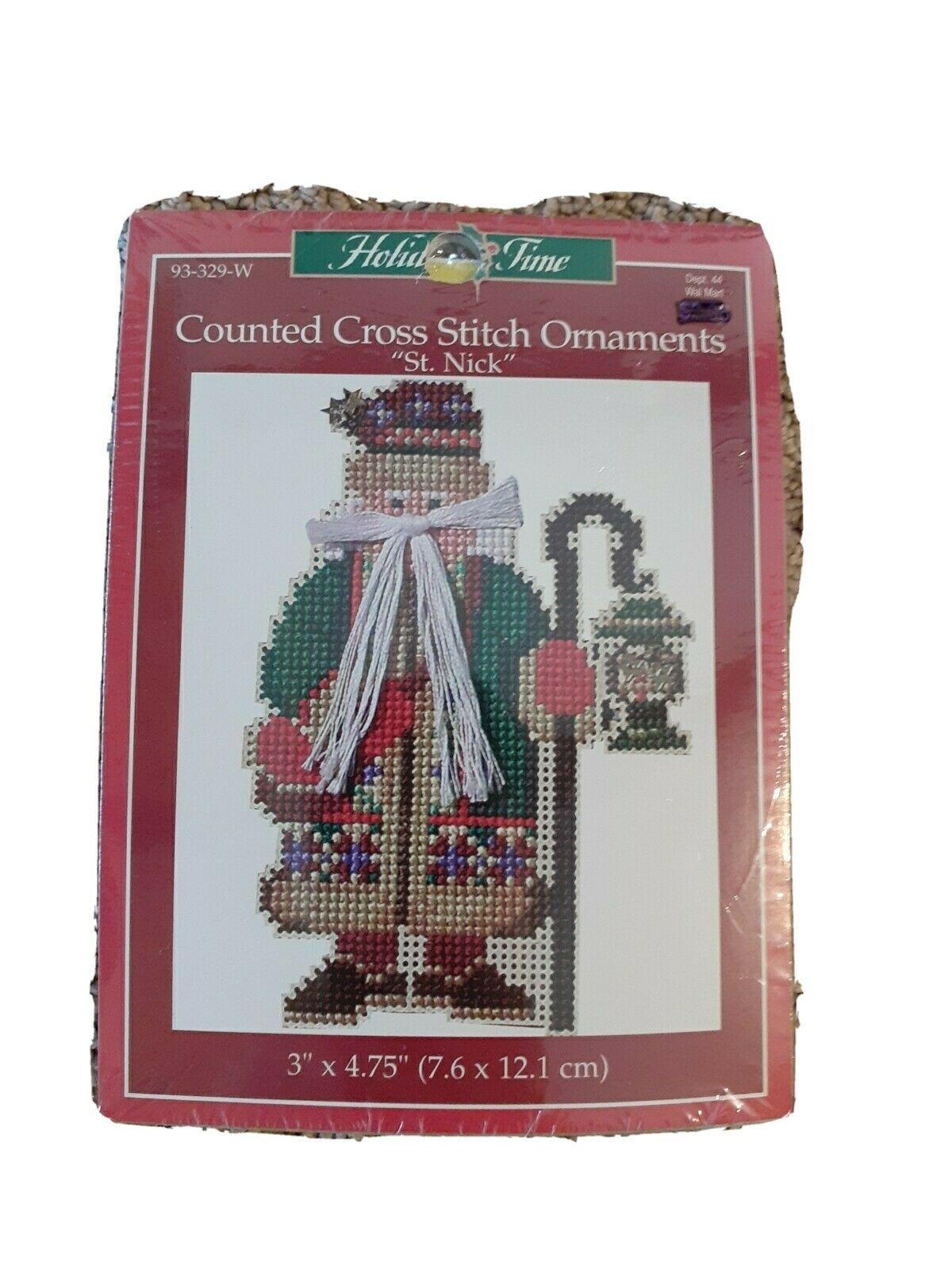 St Nick Christmas Tree Ornament Cross Stitch Kit 93-329 JanLynn 1999 Santa - $14.54