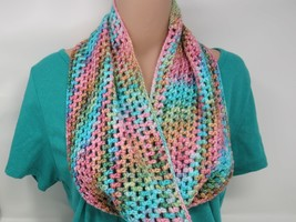 Handcrafted Crocheted Cowl Pink/Teal Textured Merino Nylon Silk Female A... - $53.38