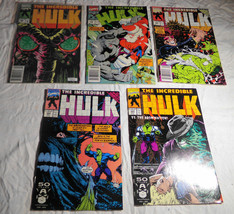 Vtg 1991 INCREDIBLE HULK Marvel Comic Book Lot 378, 383, 384, 385, 389 F... - $12.96